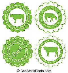 animali fattoria, mercato, ecologia, organico, manzo, carne, etichetta, vettore, fondo, concetto