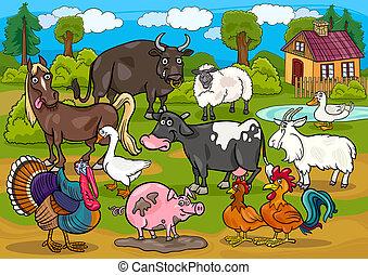 animali fattoria, paese, scena, cartone animato, illustrazione