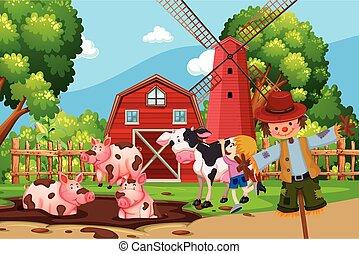 animali fattoria, scena