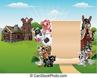 animali, fattoria, segno, carta, vuoto, felice