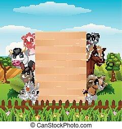 animali, fattoria, segno, legno, asse, vuoto