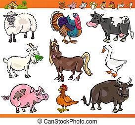 animali fattoria, set, cartone animato, illustrazione