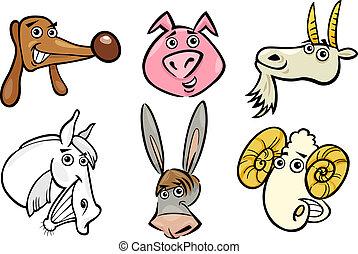 animali fattoria, set, teste, cartone animato