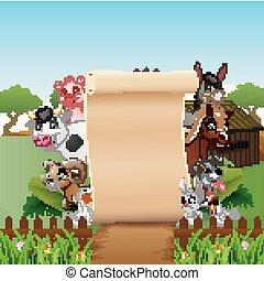 animali, fattoria, su, segno, carta, vuoto, rotolo