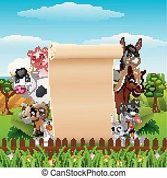animali, fattoria, su, segno, vuoto, cartone animato, rotolo