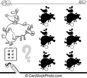 animali fattoria, uggia, gioco, libro colorante
