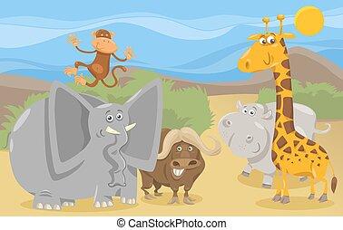 animali, gruppo, cartone animato, illustrazione, safari