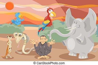 animali, gruppo, cartone animato, illustrazione