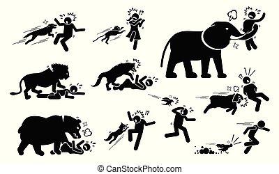 animali, icone, simbolo, segni, attacco, umano, cliparts.