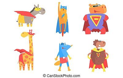 animali, illustration., mantelli, maschere, superheroes., vettore, cartone animato