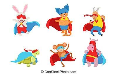 animali, illustration., superheroes., vestito, vettore, divertente