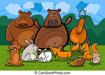 animali, illustrazione, foresta, selvatico, gruppo, cartone animato