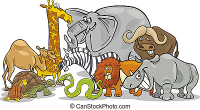 animali, illustrazione, safari, africano, selvatico, cartone animato