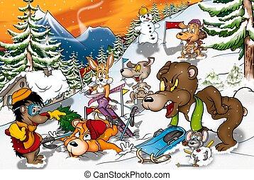 animali, in, inverno