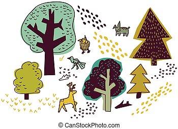 animali, isolare, elements., disegno, foresta, natura, bianco