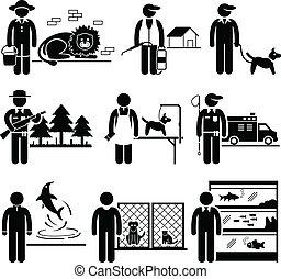 animali, lavori, carriere, occupazioni