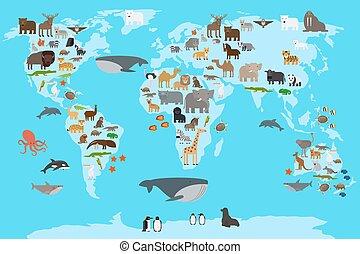 animali, mappa mondo