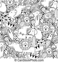 animali, modello, seamless, nero, safari, bianco, adorabile