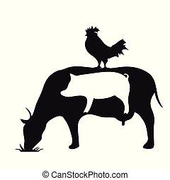 animali, mucca, fattoria, simbolo, maiale, nero, silhouette, bianco, pollo