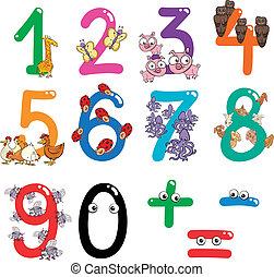 animali, numeri, cartone animato