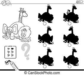 animali, ombre, educativo, gioco, colorare, libro