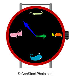 animali, orologio