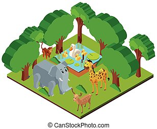 animali, scena, disegno, foresta, selvatico, 3d