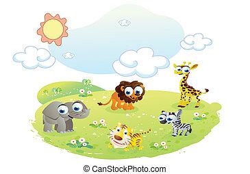 animali selvaggi, a, il, giardino