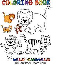 animali selvaggi, coloritura, -, libro