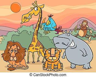 animali selvaggi, gruppo, cartone animato, illustrazione