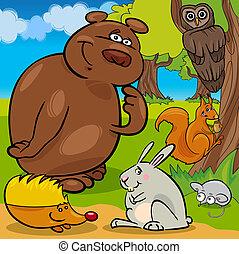 animali selvaggi, gruppo, foresta, cartone animato