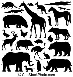 animali, set, silhouette