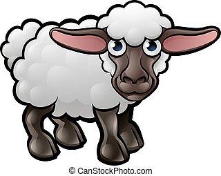 animali, sheep, cartone animato, fattoria, carattere