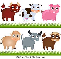 animali, vettore, fattoria