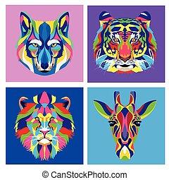 animali, vita, selvatico, fascio, technicolor, quattro