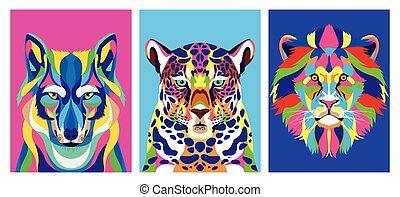 animali, vita, selvatico, fascio, tre, technicolor