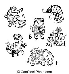 Animals alphabet A - E for children. Vector coloring page