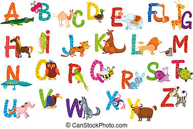 animals alphabet - vector illustration of a cute animals...