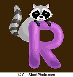 animals alphabet for kids fish letter R, cartoon fun abc education in preschool, cute children zoo collection learning english language, raccoon vector illustration