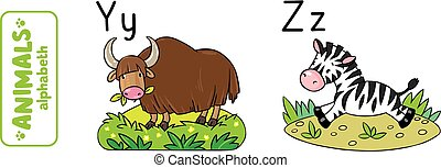 Animals alphabet or ABC. - Children vector illustration of...