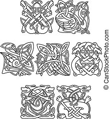 Animals and birds with celtic tribal ornament - Animals and...