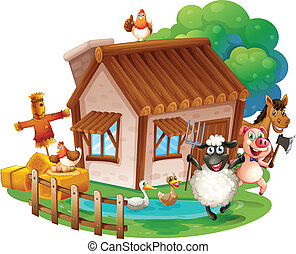 Animals and cottage