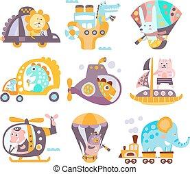 Animals And Transportation Fantasy Illustration Set
