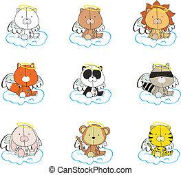 animals angel cartoon set 001