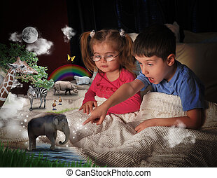 Animals at Bed Time with Children - Two young children are...