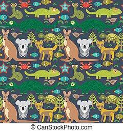 Animals Australia snake, turtle, crocodile, alliagtor, kangaroo, dingo. Seamless pattern on  dark background. Vector