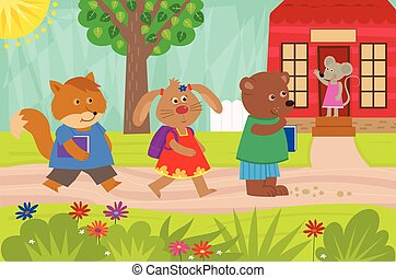 Animals Back To School - Cute fox, rabbit and a bear are...