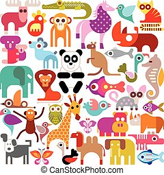 Animals, birds and fishes - square shape vector...