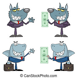Animals Businessmen Cartoon Charact