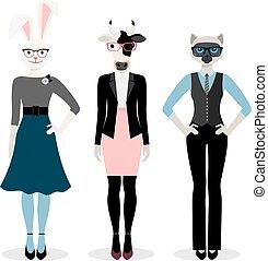 Animals businesswoman icons